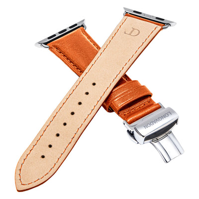 men's whiskey brown leather band for silver apple watch closer look