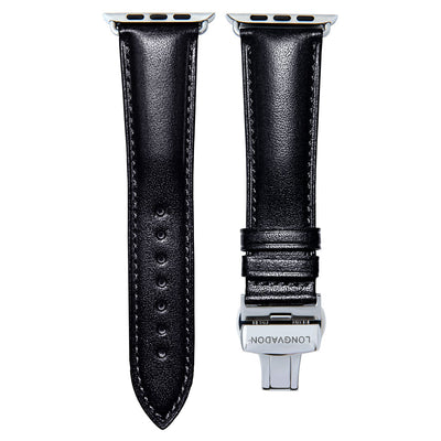 men's midnight black leather band for silver apple watch