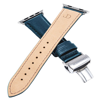 men's navy blue leather band for silver apple watch closer look