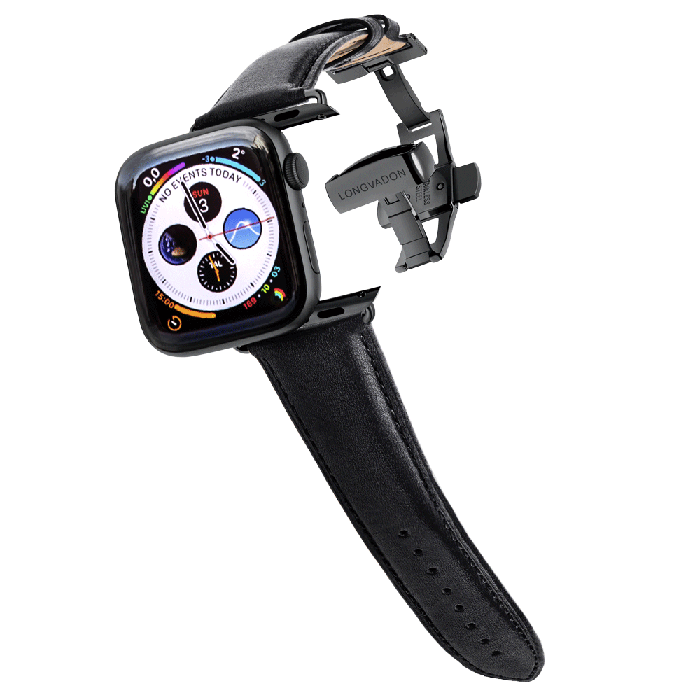 black apple watch with midnight black leather band for men
