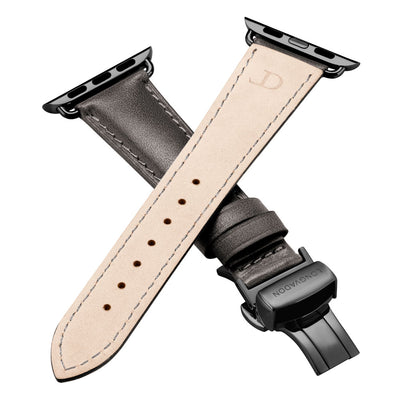 women's dark gray leather band for black apple watch closer look