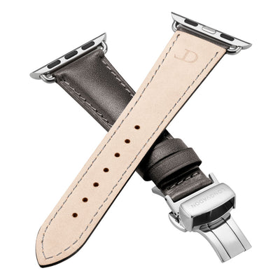 women's dark grey leather apple watch band with silver clasp closer look