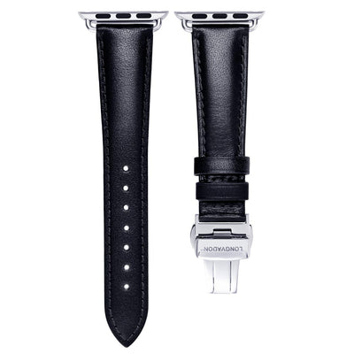 women's black leather band for silver apple watch