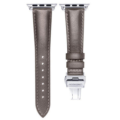 women's dark grey leather band for silver apple watch