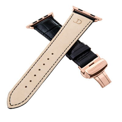 men's midnight black leather band for gold apple watch closer look