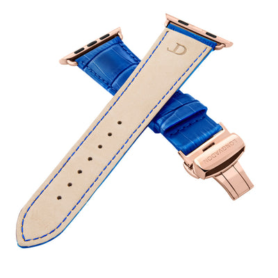 men's mediterranean blue leather band for gold apple watch closer look