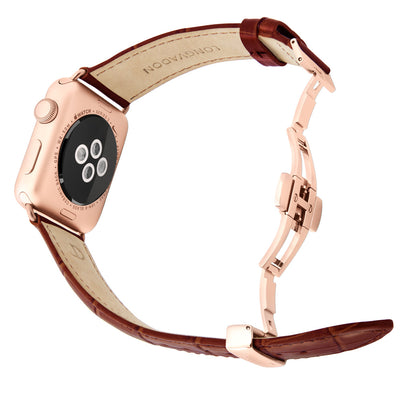 gold apple watch with mahogany brown leather band for men back view