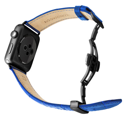 black apple watch with mediterranean blue leather band for men back view