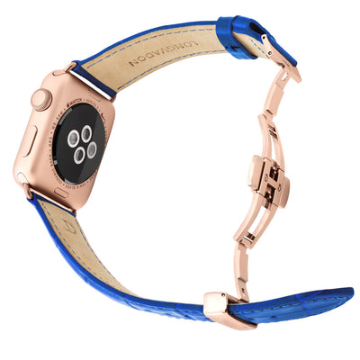 gold apple watch with mediterranean blue leather band for men back view