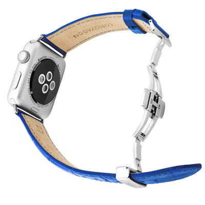silver apple watch with mediterranean blue leather band for men back view