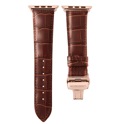 men's mahogany brown leather band for gold apple watch