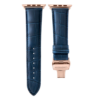 men's navy blue leather band for gold apple watch