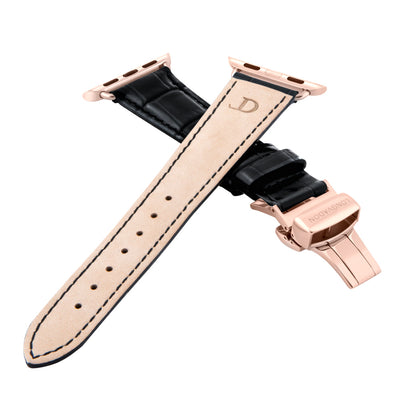 women's midnight black leather band for gold apple watch closer look