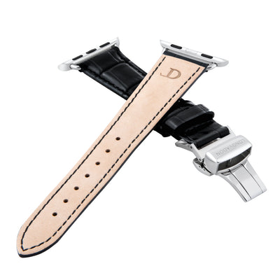 women's midnight black leather band for silver apple watch closer look