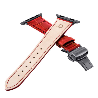women's crimson red leather band for black apple watch closer look