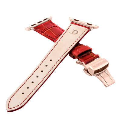 women's crimson red leather band for gold apple watch closer look