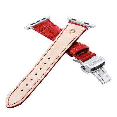 women's crimson red leather band for silver apple watch closer look