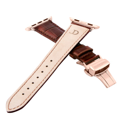 women's mahogany brown leather band for gold apple watch closer look