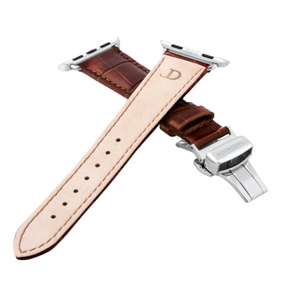 women's mahogany brown leather band for silver apple watch closer look