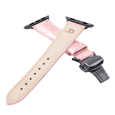 women's glossy pink leather band for black apple watch closer look