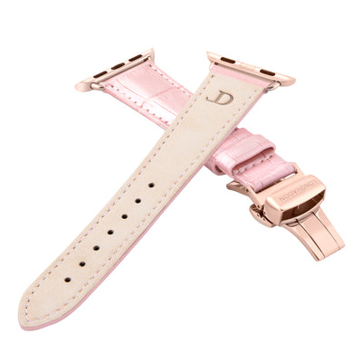 women's glossy pink leather band for gold apple watch closer look