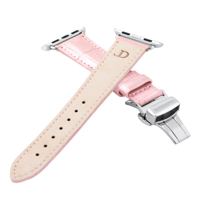 women's glossy pink leather band for silver apple watch closer look