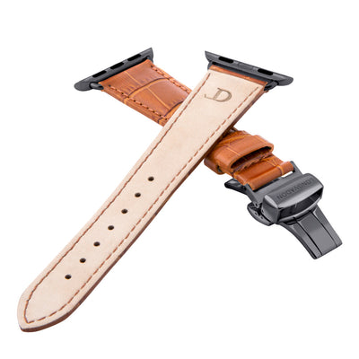 women's whiskey brown leather band for black apple watch closer look