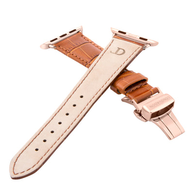 women's whiskey brown leather band for gold apple watch closer look