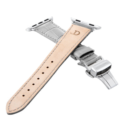 women's misty gray leather band for silver apple watch closer look