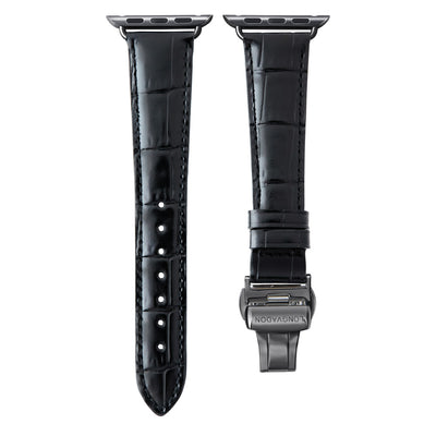 women's midnight black leather band for black apple watch