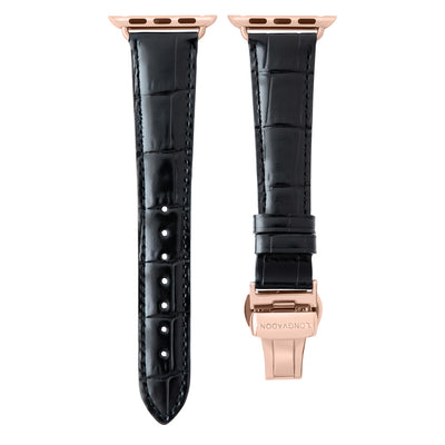 women's midnight black leather band for gold apple watch