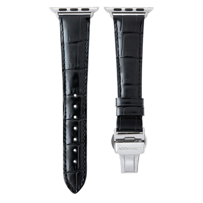 women's midnight black leather band for silver apple watch