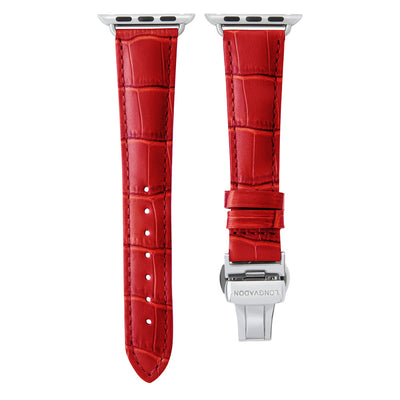 women's crimson red leather band for silver apple watch