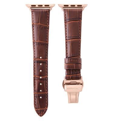 women's mahogany brown leather band for gold apple watch