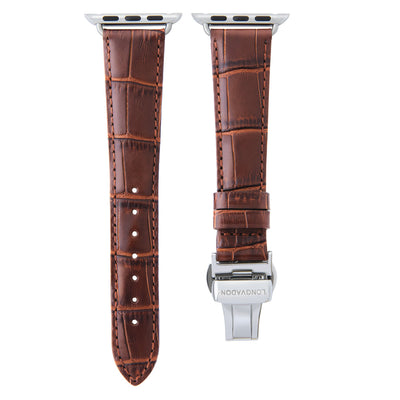 women's mahogany brown leather band for silver apple watch