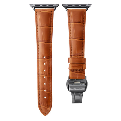 women's whiskey brown leather band for black apple watch