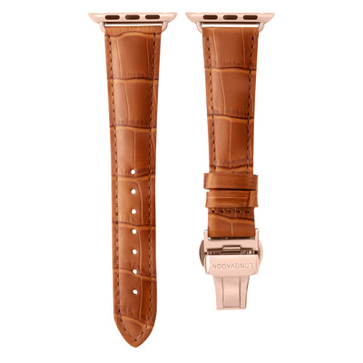 women's whiskey brown leather band for gold apple watch