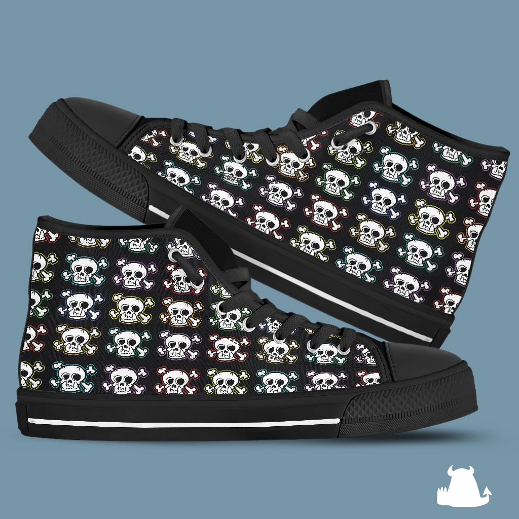 Skull 'n X Bones Canvas High Tops - Black Sole - Beasties Clothing