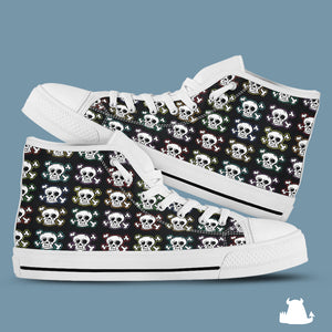 Skull n x bones high top canvas shoes - White sole - Beasties Clothing