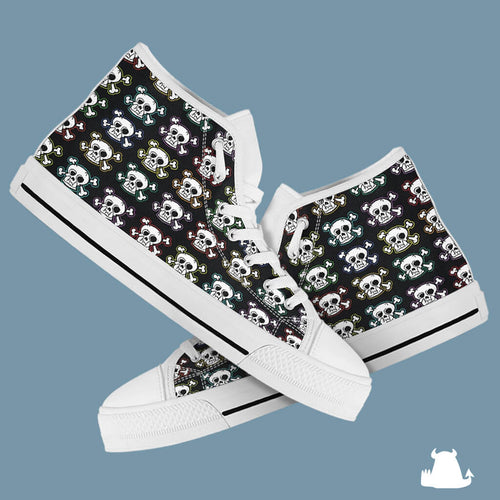 Skull n x bones high top canvas shoes - White sole