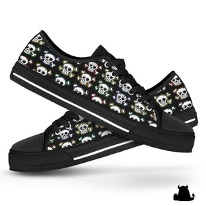 Skull n' X bones low top canvas shoes - Black sole
