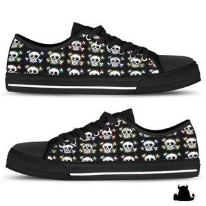 Skull n' X bones low top canvas shoes - Black sole - Beasties Clothing