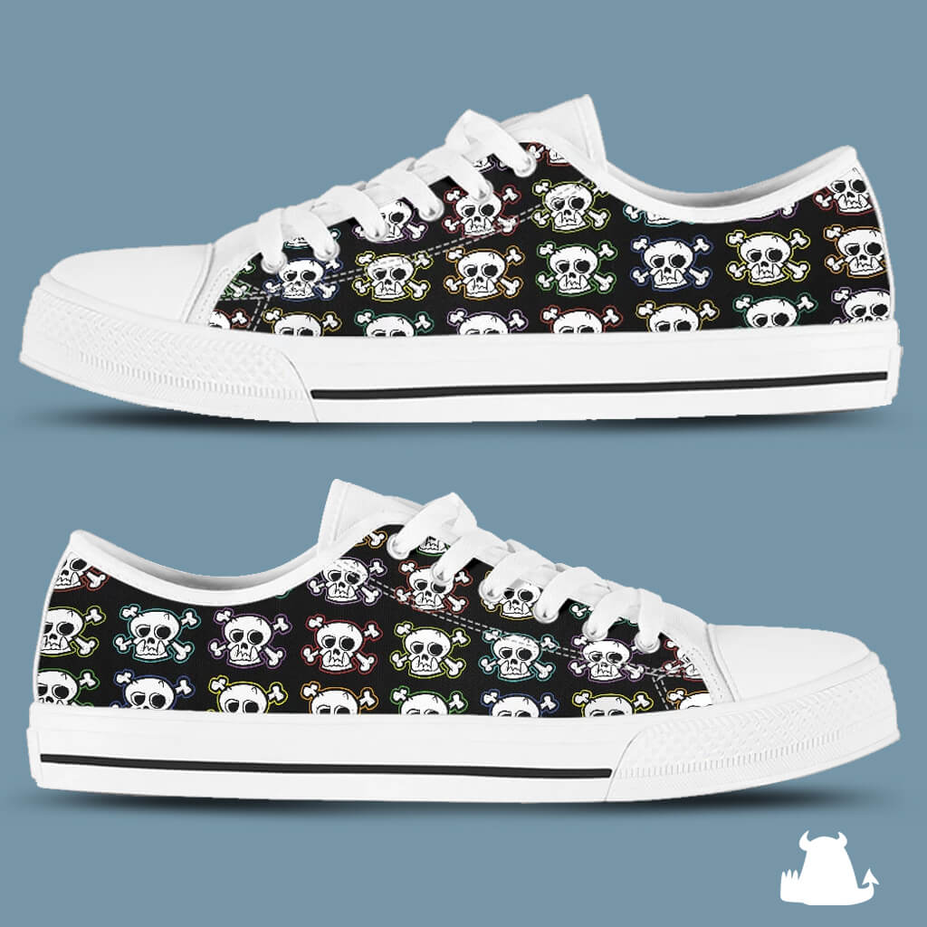 Skull n X Bones Low Top Canvas Shoes - White Sole - Beasties Clothing