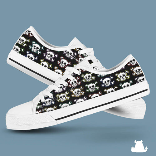 Skull n X Bones Low Top Canvas Shoes - White Sole