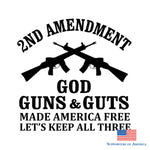 13.8Cm * 13.5Cm Car Styling 2Nd Amendment Dieu Guns & Guts Made America Lets Free Keep All Three