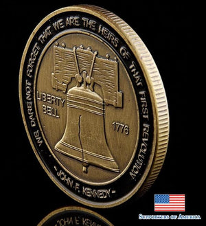 1776 The Declaration Of Independence Benjamin Franklin America Bronze Liberty Bell Coin With