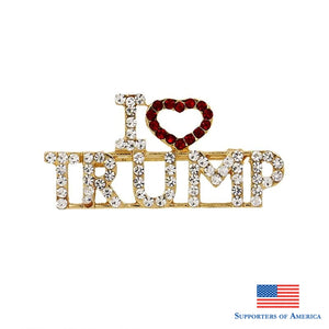2019 Summer New Arrival I Love Trump Rhinestones Brooch Pins For Women
