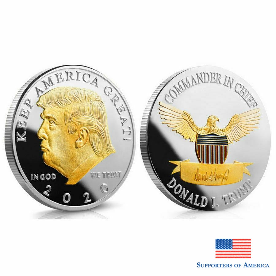 Free 2020 Trump President Commemorative Coin Gold Novelties