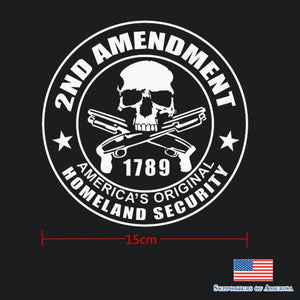 2Nd Amendment Homeland Security Nra Gun Skull Round Car Die Cut Decal Sticker Choose Color/size