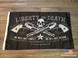 3Ft X 5Ft 3 X5Fti Liberty Or Death 2Nd Amendment Skull Right To Bear Arms Flag Print Polyester